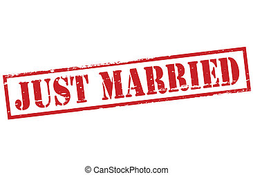 Just married - Stamp with text just married inside, vector...