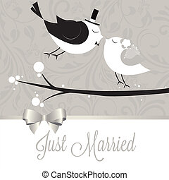 Just married - just married birds on special gray background