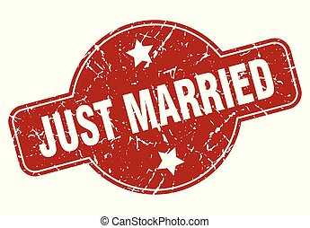 just married vintage stamp. just married sign