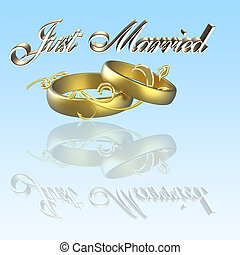 just married with hearts and reflection