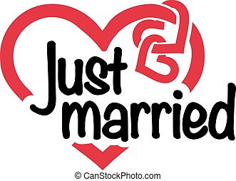 Just married with hearts