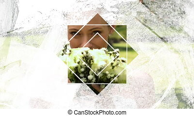 Animation of a just married Caucasian bride smiling and smelling her bouquet seen through a white star shaped window in the foreground
