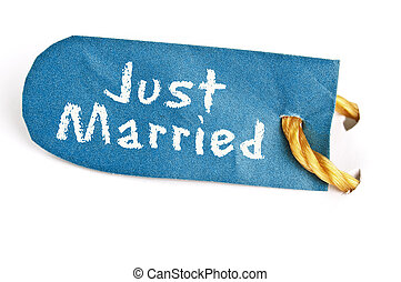 Just Married word on label