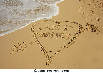 """Just married"" written in sand on a beach"