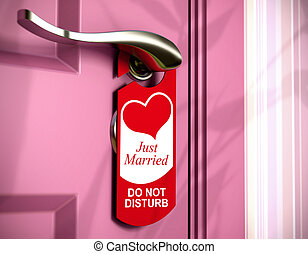 just married written onto a red door hanger, hanged on a...