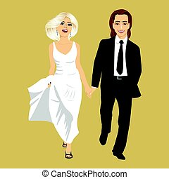 Just married young couple holding hands together walking. Front view
