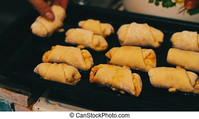 homemade croissants which are laid out on a baking sheet -...