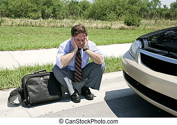Just My Luck - An upset businessman on the side of the road...