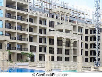 Just new builded luxury apartament house, windows and balcony