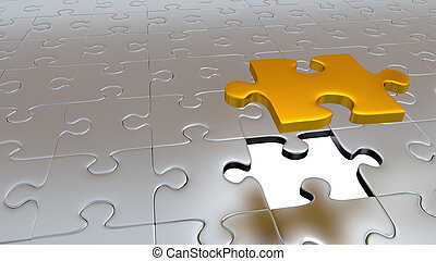 One Big Gold Puzzle Piece which stay above the others