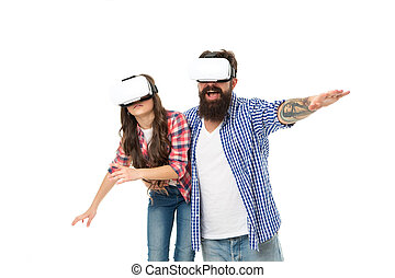 Just relax. happy family day. little girl have fun with father. spend free time together. concept of parenthood and childhood. dad and child wear vr glasses. future technology is real