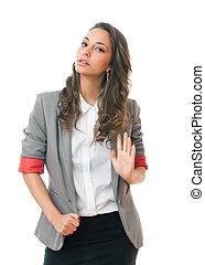 Just say no. - Gorgeous young brunette businesswoman sais...