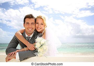 just, staket, par, gift, böjelse, strand
