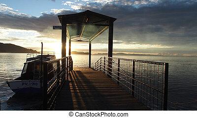Just sunrise at Titicaca Lake