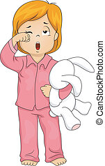 Just Woke Up - Illustration of a Little Girl in Pajamas Who...
