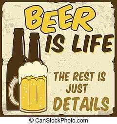 juste, affiche, repos, bière, détails, vie