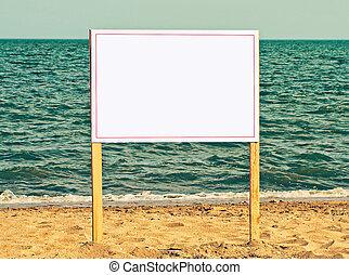 juste, ajouter, ton, text., panneau affichage, sablonneux, vide, plage.