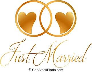 juste marié, anneaux, vecteur, conception