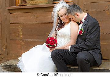 juste marié, couple, dans, a, romantique, scène