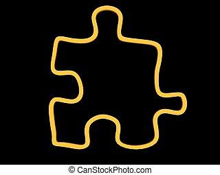 juste, puzzle, -, jaune, bord, morceau