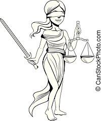 justiça, arte, linha, senhora