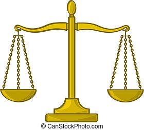 justiça, caricatura, escalas