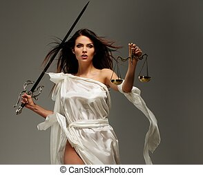 justiça, deusa, femida, espada, escalas