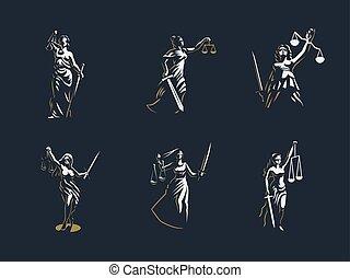 justiça, deusa, set., vector., themis.