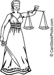 justiça, -, deusa, themis