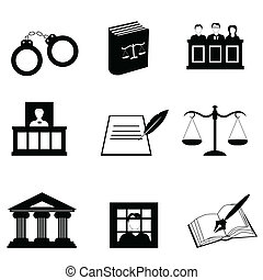 justiça, e, legal, ícones