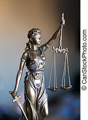 justiça, escritório., estátua, advogado, escalas