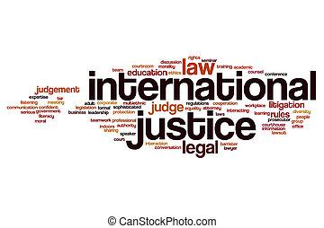 justiça, internacional, conceito, palavra, nuvem