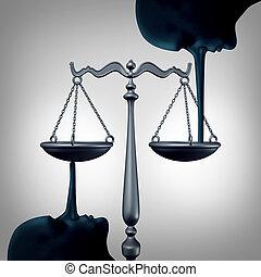 justiça, mentindo, conceito