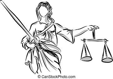 justiça, senhora, escultura, ilustração