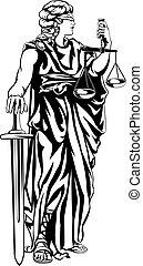 justiça, senhora, ilustração