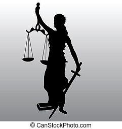 justiça, silueta, estátua