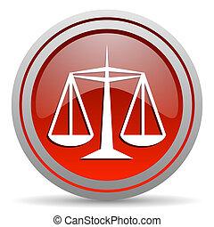 justiça, vermelho, lustroso, ícone, branco, fundo