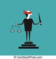 justiça, vetorial, conceito, em, apartamento, caricatura, estilo