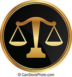justiça, vetorial, escalas, ícone