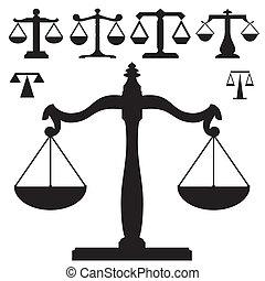justiça, vetorial, silueta, escalas