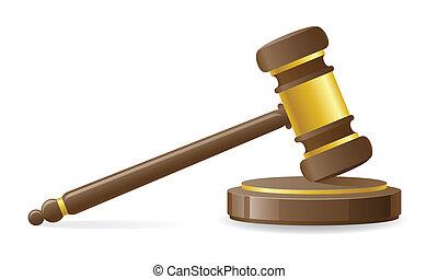 justiční, nebo, aukce, kladívko, vektor, ilustrace