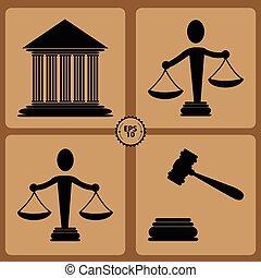 justice, étiquettes, ensemble, droit & loi