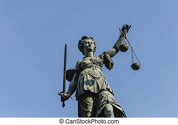 justice, allemagne, dame, tatue, francfort