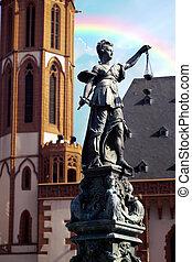 justice, allemagne, statue, francfort, dame, (justitia)