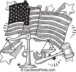 justice, américain, croquis