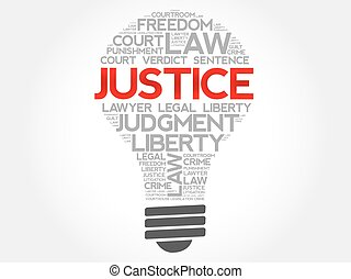 justice, ampoule, mot, nuage
