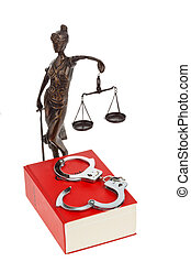 Justice and Code - A red code with rules of court. Isloiert ...