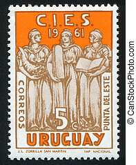 Justice and Education - URUGUAY - CIRCA 1961: stamp printed...