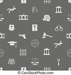 justice and law icons seamless pattern eps10