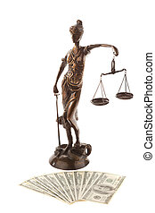 Justice and the dollar. Symbol for legal costs.